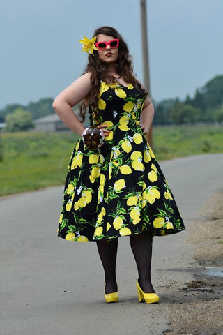 Lois in vintage style lemon dress violet loves vintage