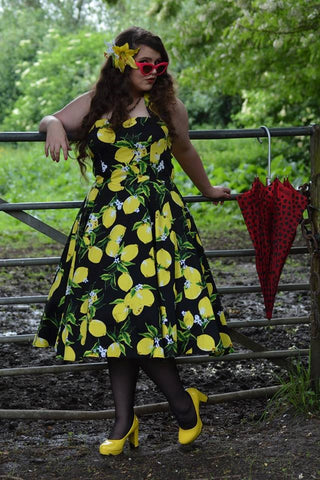 Lois lemon dress hearts and roses