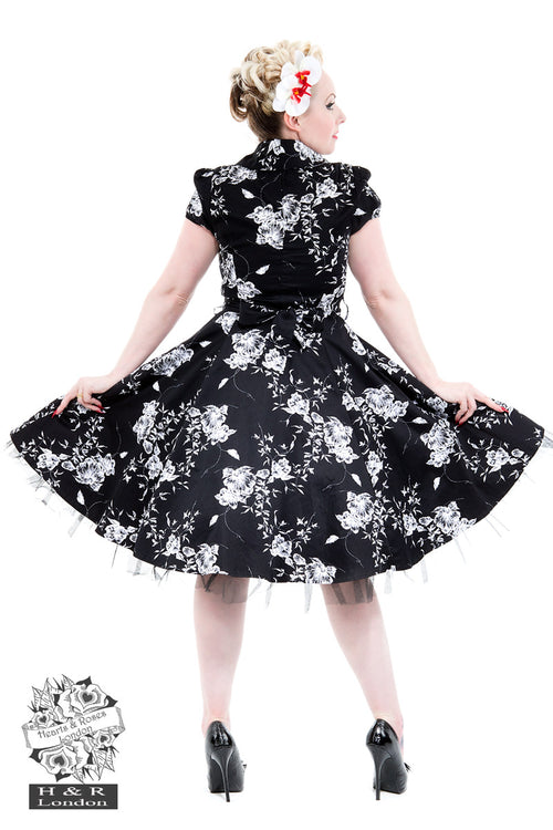 Hearts and Roses - 50's Style Black White Floral Tea Dress
