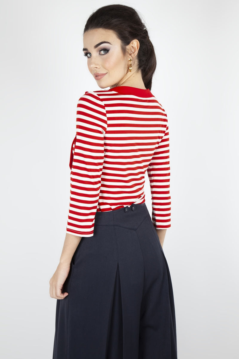 Nancy - Red & White Striped Sweater