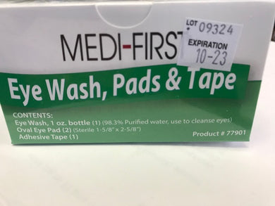 Eye Bandage 2/Pads, Tape & 1oz eye Wash