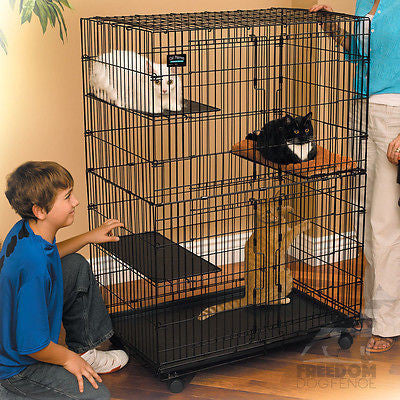 Large Folding Collapsible Pet Cat Wire Cage Indoor Outdoor Playpen w/ Cat Bed