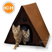 K&H Pet Products Outdoor Heated or Non Multiple Kitty A-Frame House Chocolate