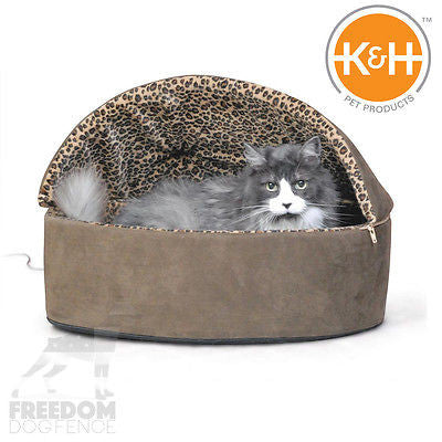 K&H Pet Products Thermo-Kitty Bed Deluxe Hooded Small Large Tan/Mocha