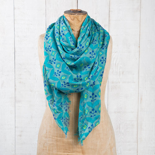 Modal Scarf -Turquoise & Navy