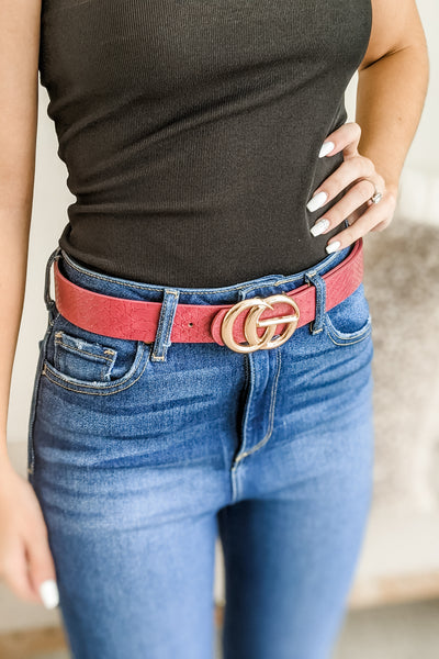 "1.25"" Crocodile Faux Leather Belt - Burgundy"