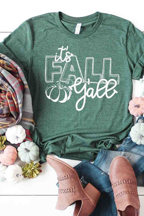 """It's Fall Y'all"" Graphic Tee - Heather Green"