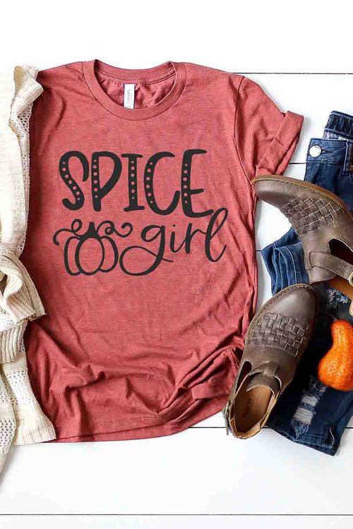 """Spice Girl"" Pumpkin Graphic Tee - Heather Clay"