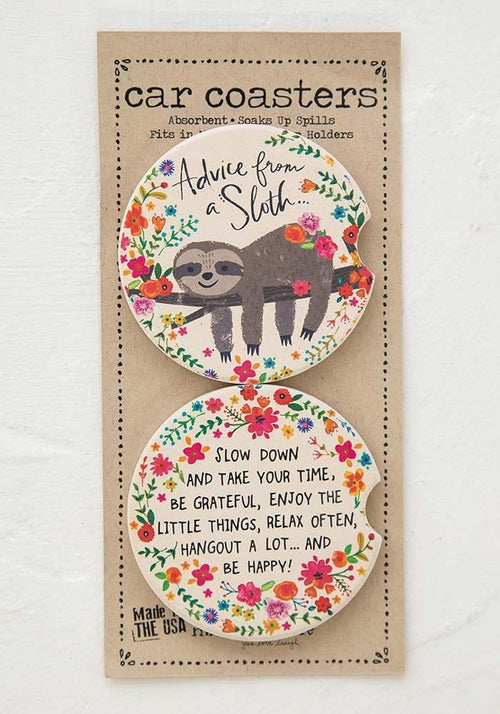 Advice From Sloth Set of 2 Car Coasters - Natural Life