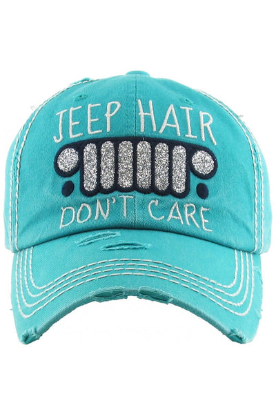 """Jeep Hair Don't Care"" Embroidered Cap - Turquoise"