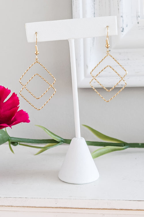 2 Textured Square Earrings - Gold