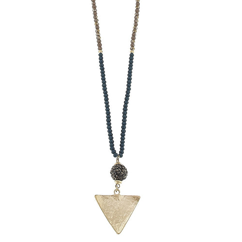 Beaded Glass Pavé Ball Triangle Necklace