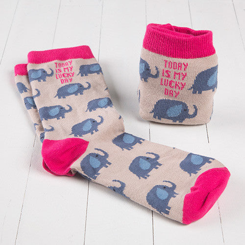 """Lucky Day"" Elephant Crew Socks"