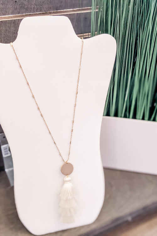 4 Layer Tassel & Disc Necklace - Ivory