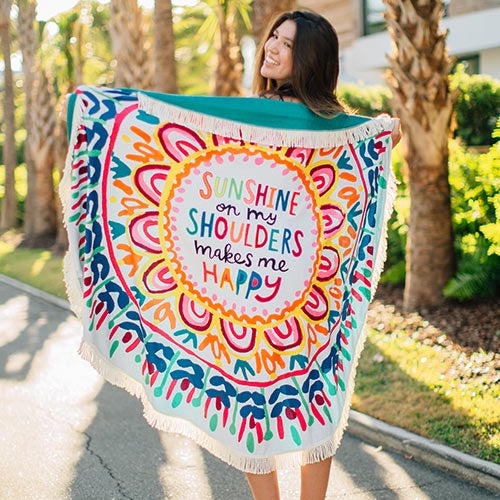 Sunshine on My Shoulders Round Beach Towel Blanket