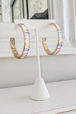 50mm Baguette Bead Open Hoops - Pastel Multi