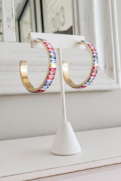 50mm Baguette Bead Open Hoops - Pink Multi