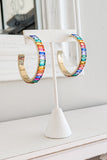 50mm Baguette Bead Open Hoops - Rainbow