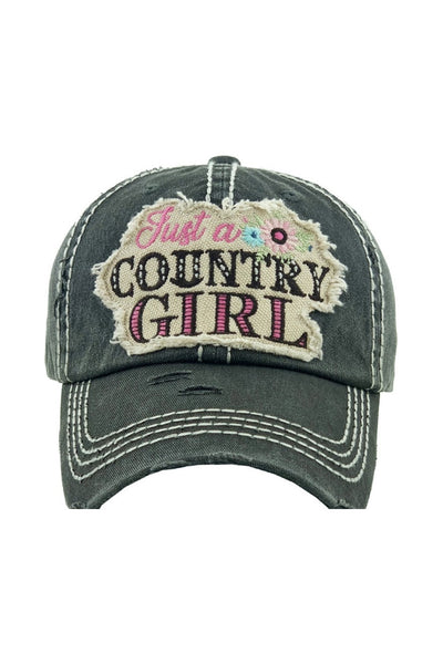 """Just a Country Girl"" Patchwork Cap - Black"