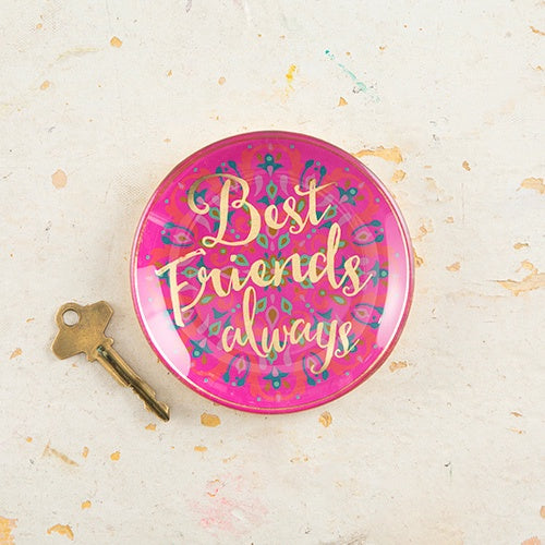 """Best Friends Always"" Round Glass Tray"
