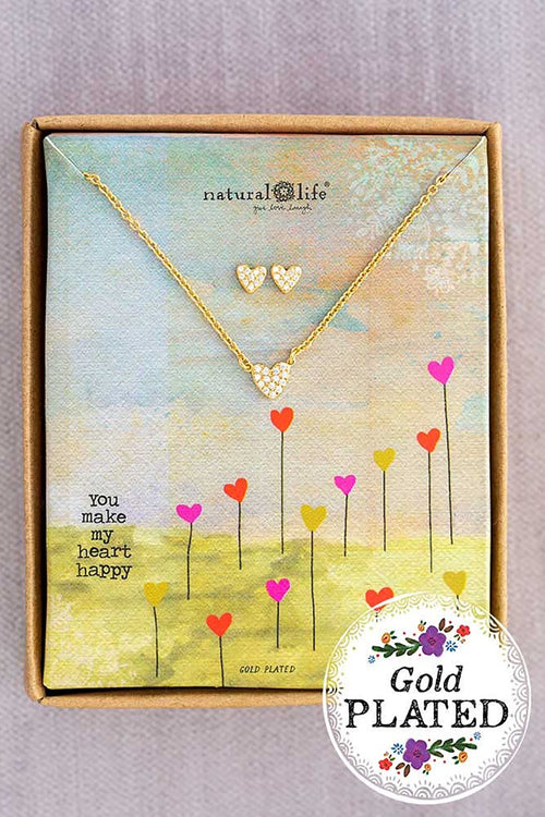 Heart Necklace & Earring Set - Natural Life