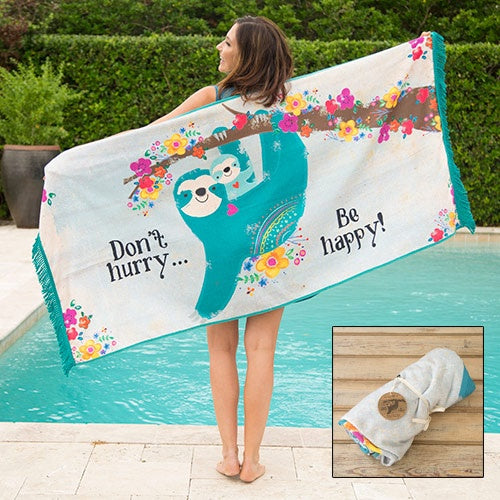 Sloth Don't Hurry Beach Towel Blanket