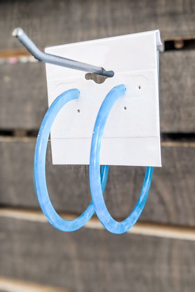 60mm Acrylic Open Hoops - Blue