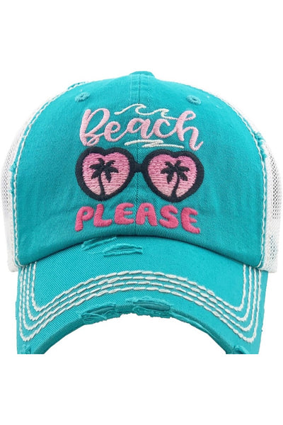 """Beach Please"" Embroidered Trucker Cap - Turquoise"