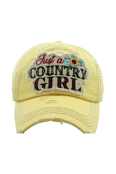 """Just a Country Girl"" Patchwork Cap - Yellow"