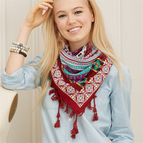Multicolored Square Scarf with Tassels