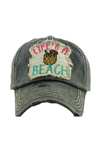 """Life's a Beach"" Patchwork Cap - Black"