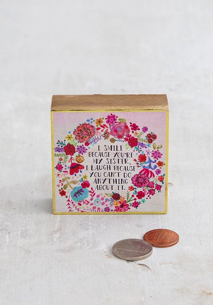 I Smile Sister Tiny Block Keepsake - Natural Life