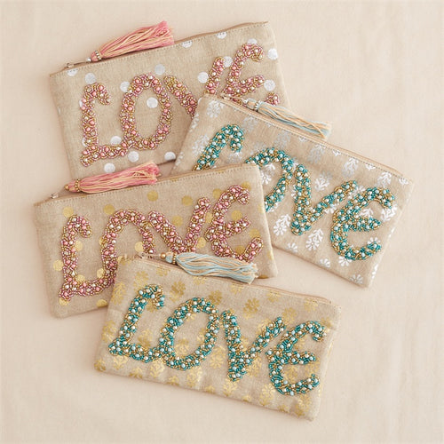 Beaded Love Pouch with Tassel