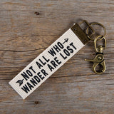 Not All Who Wander Canvas Key Fob
