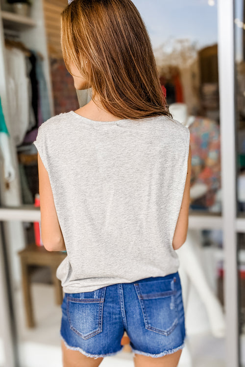 A Simple Touch Front Wrap V-Neck Top - Heather Gray