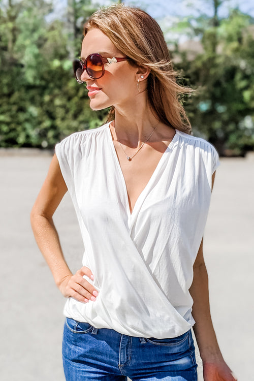 A Simple Touch Front Wrap V-Neck Top - Off White