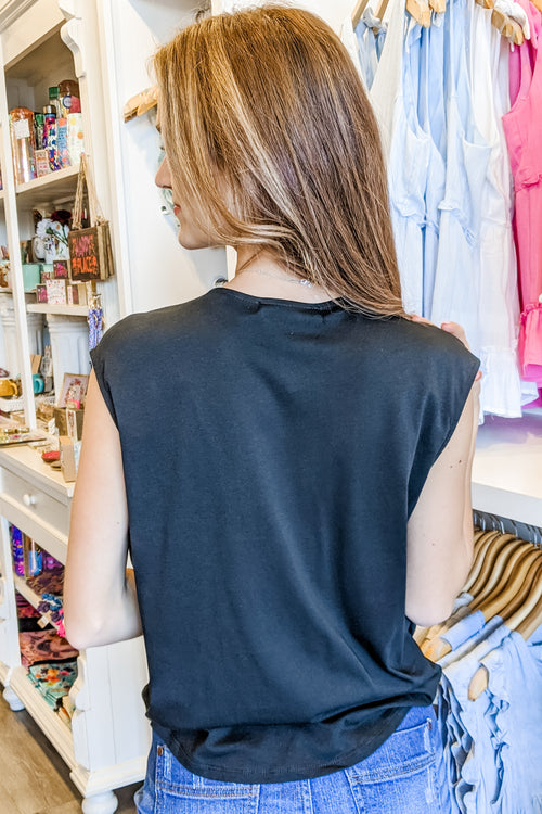 A Simple Touch Front Wrap V-Neck Top - Washed Black