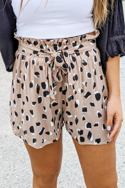 Aaliyah Leopard Print Shorts - Taupe