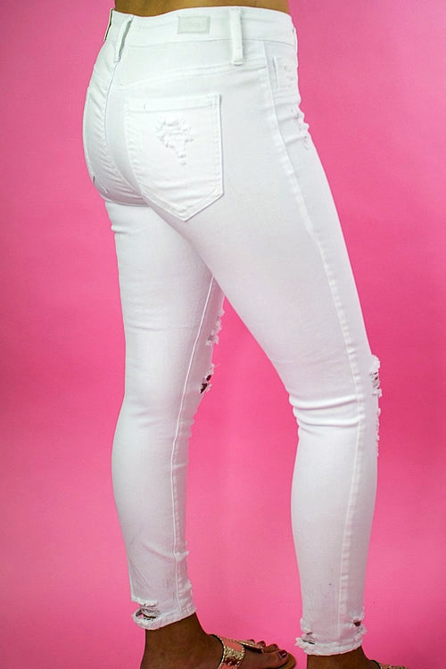 Abby Distressed Skinny Jeans - White