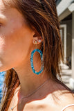 Acrylic Hexagon Cutout Earrings - Teal