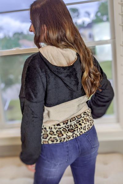 Adventurous Beginnings Leopard Print Hoodie - Black