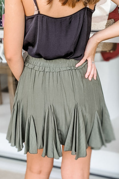 Ainsley Ruffle Skirt - Olive