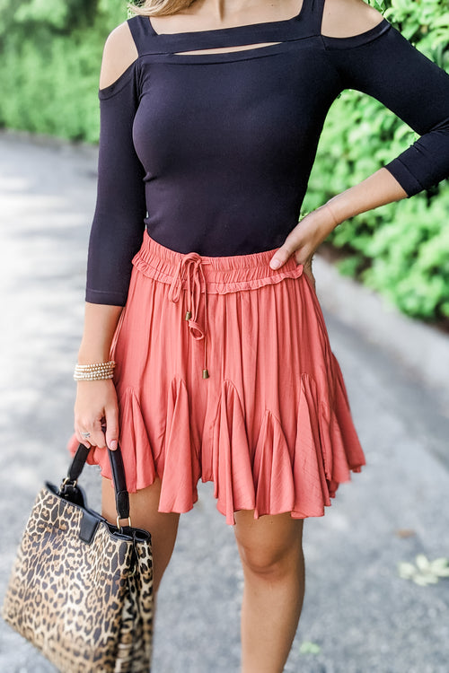 Ainsley Ruffle Skirt - Terra Cotta