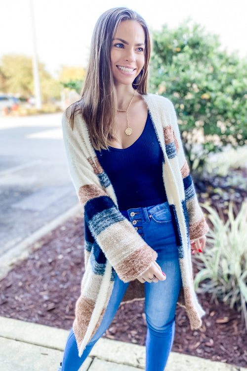 All About You Color Block Faux Mohair Cardigan - Natural Multi