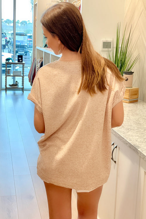 All I Know Waffle Textured Short Sleeve Top - Oatmeal