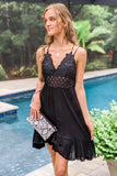 All in the Detail Lace Bodice Dress - Black