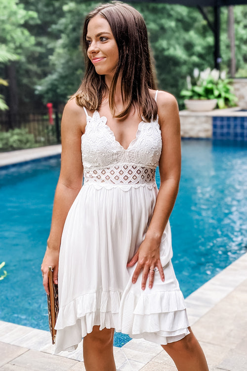 All in the Detail Lace Bodice Dress - Off White