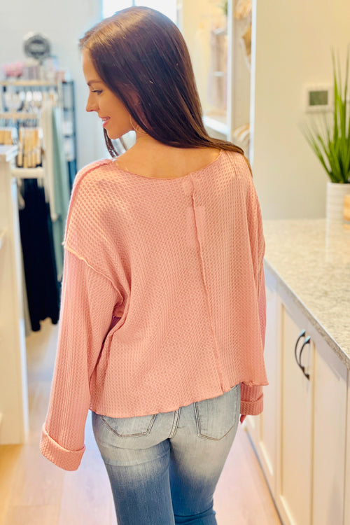 Always Be Mine Long Sleeve Waffle Knit Top - Pink