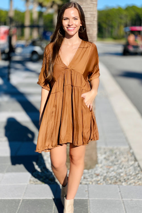 Always Be True V-Neck Mini Dress - Golden Brown