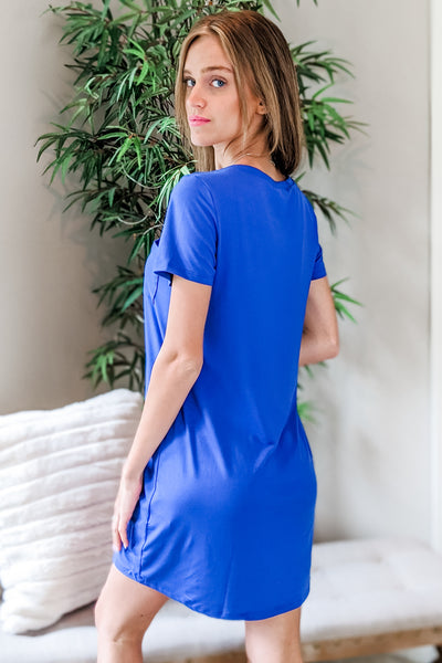 Always There T-Shirt Dress - Royal